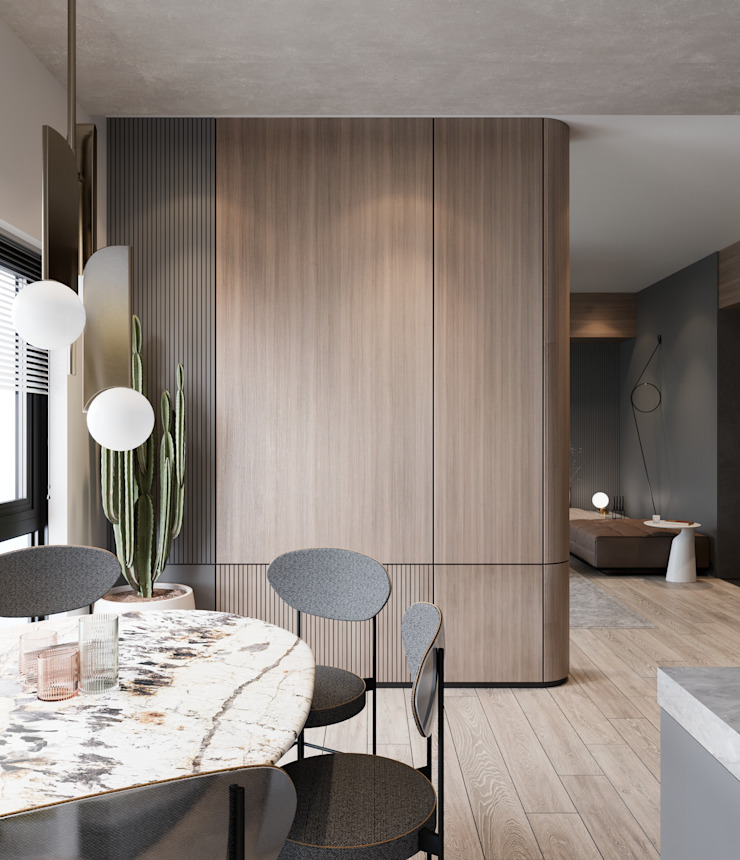 Murat Aksel Architecture Small kitchens Wood Wood effect