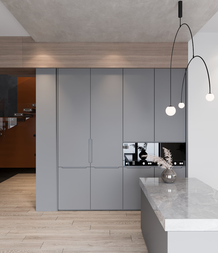 Murat Aksel Architecture Built-in kitchens Wood Grey