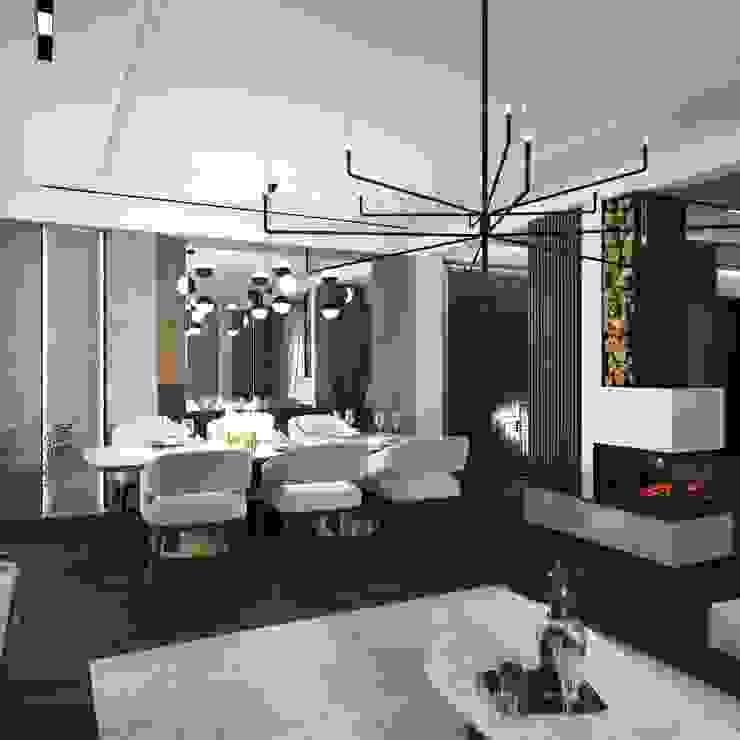 Murat Aksel Architecture Modern Living Room Concrete White