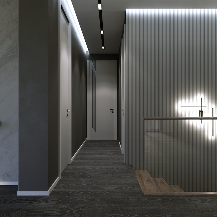Murat Aksel Architecture Modern Corridor, Hallway and Staircase Wood Grey