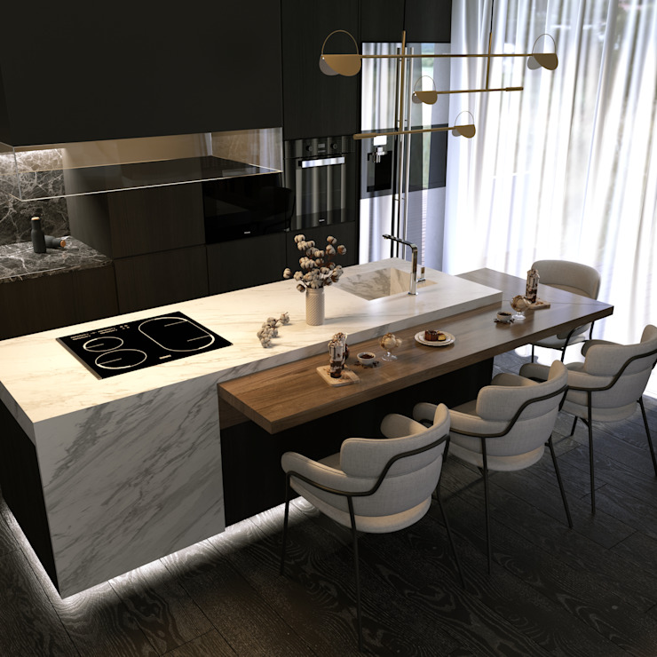 Murat Aksel Architecture Small kitchens Marble White