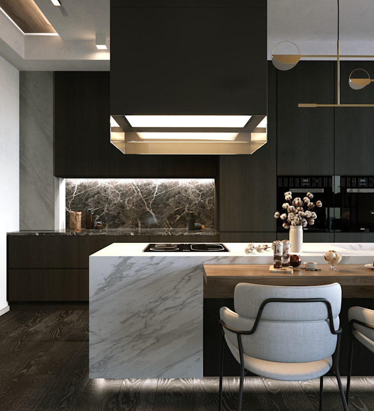 Murat Aksel Architecture Small kitchens Wood Grey