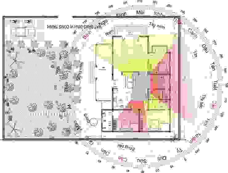 Bố cục phong thuỷ cho căn nhà bởi Công ty TNHH Thiết kế và Ứng dụng QBEST Nhiệt đới