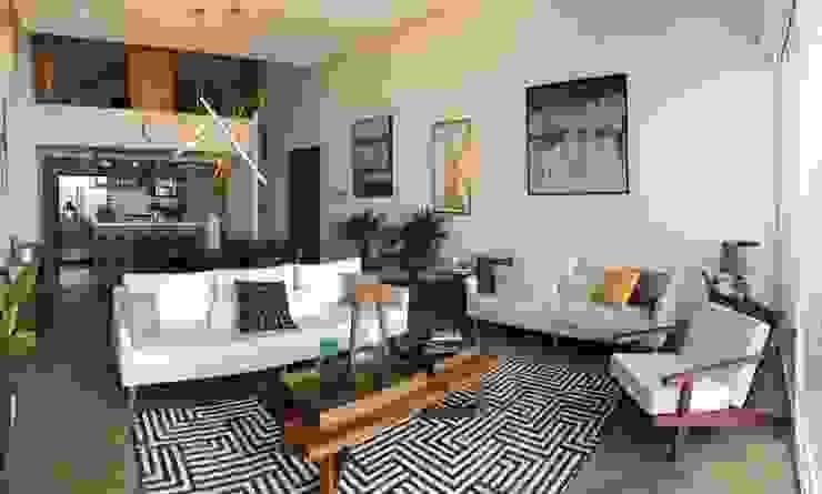 Double Height Living Room Modern Living Room by DE LEON PRO Modern