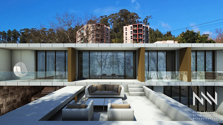 Habitação QE IF L1 Varandas, marquises e terraços modernos por ARTEQUITECTOS Moderno