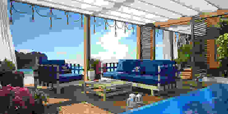 VITTAGROUP Modern style balcony, porch & terrace Wood Brown