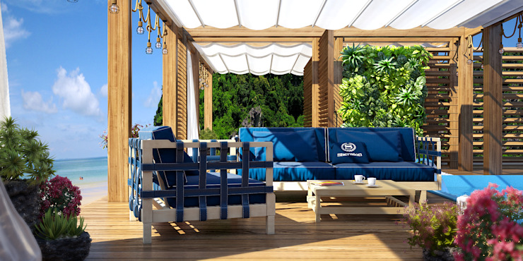 VITTAGROUP Industrial style balcony, porch & terrace