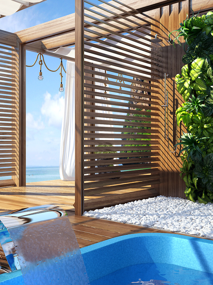 VITTAGROUP minimalist style balcony, porch & terrace Wood Beige