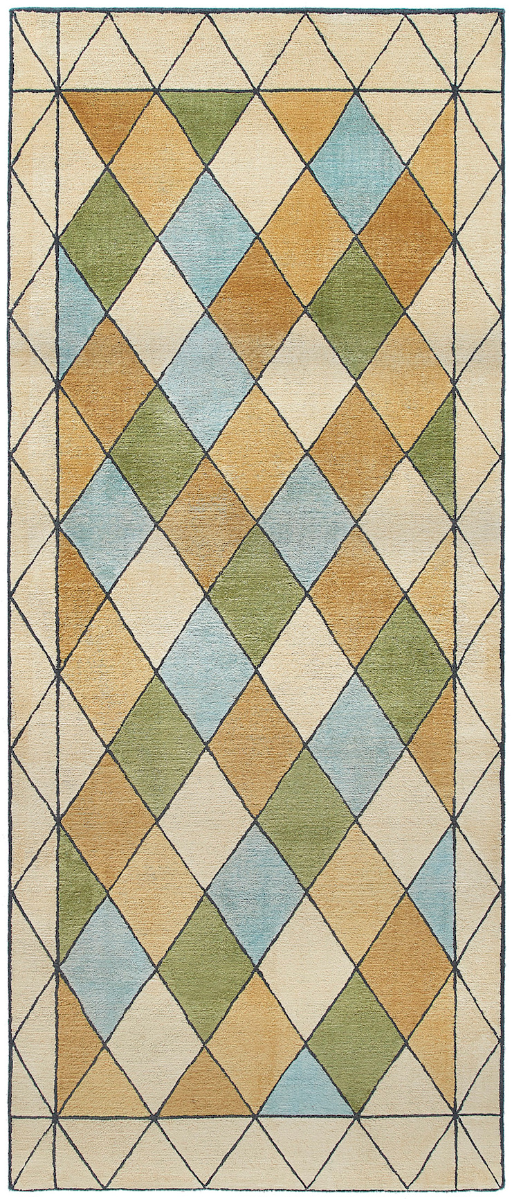 Deirdre Dyson STAINED GLASS hand knotted wool and silk runner Deirdre Dyson Carpets Ltd Walls & flooringCarpets & rugs Silk Amber/Gold