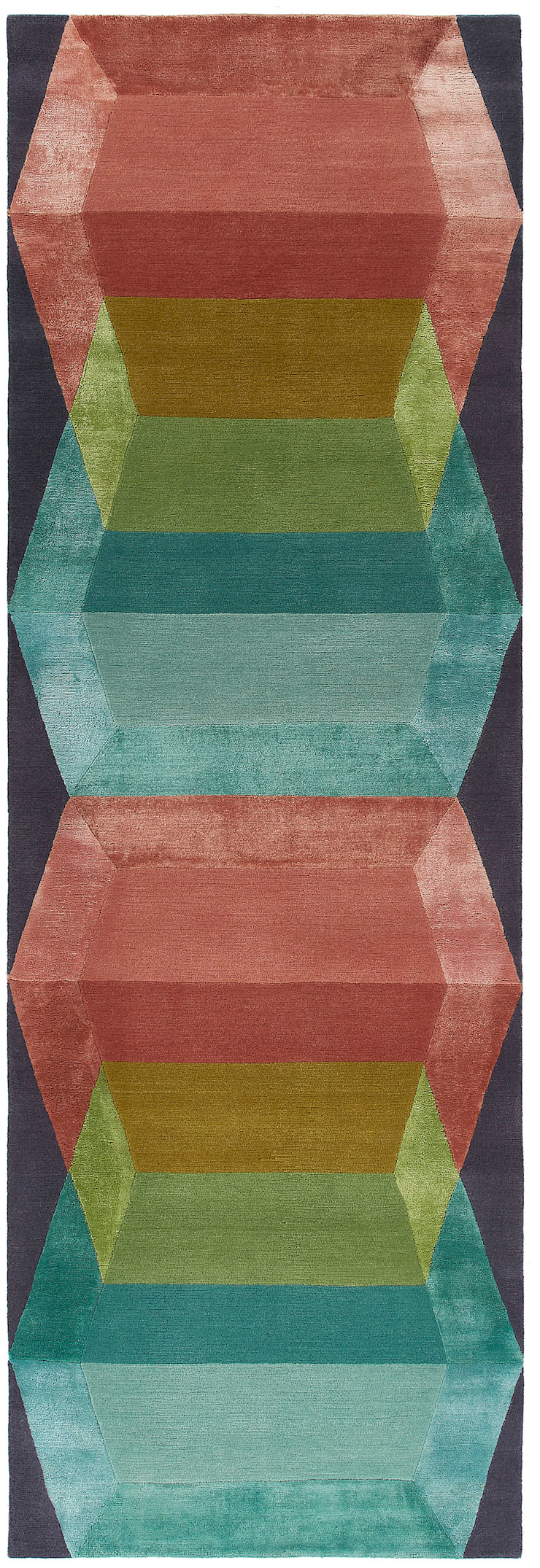 Deirdre Dyson GLASS CUBES hand knotted wool and silk runner Deirdre Dyson Carpets Ltd Walls & flooringCarpets & rugs Wool Multicolored