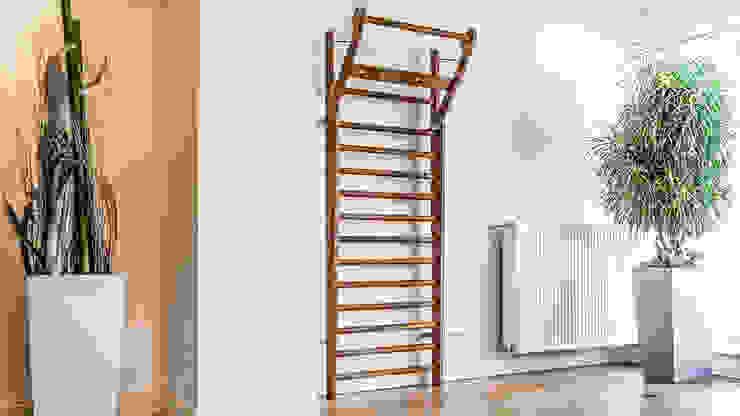 Classic Walnut Wooden Wall Bars for fitness studio or elegant minimalist gym Scandinavian style gym by GymRatZ Gym Equipment Scandinavian Solid Wood Multicolored
