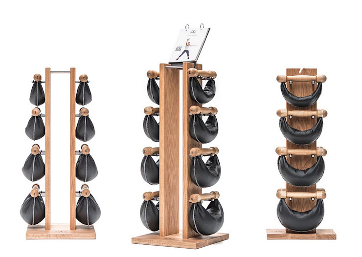 Walnut WaterRower Swingbell (kettlebell type) and walnut stand Scandinavian style gym by GymRatZ Gym Equipment Scandinavian Wood Wood effect