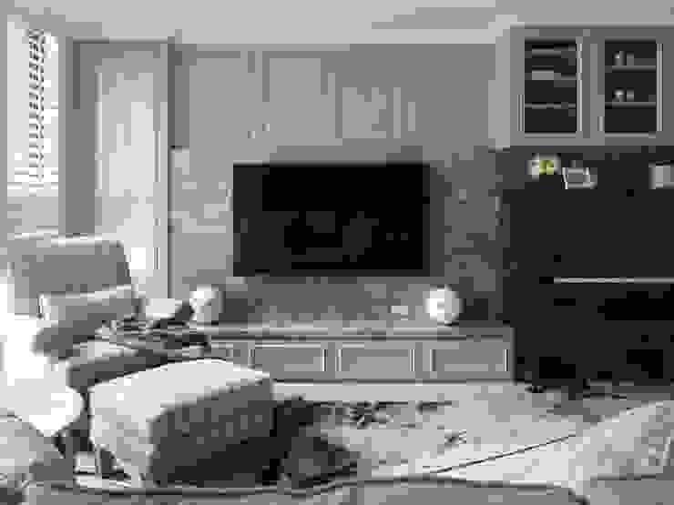 療癒系美式宅邸 现代客厅設計點子、靈感 & 圖片 根據 陶璽空間設計 現代風 大理石