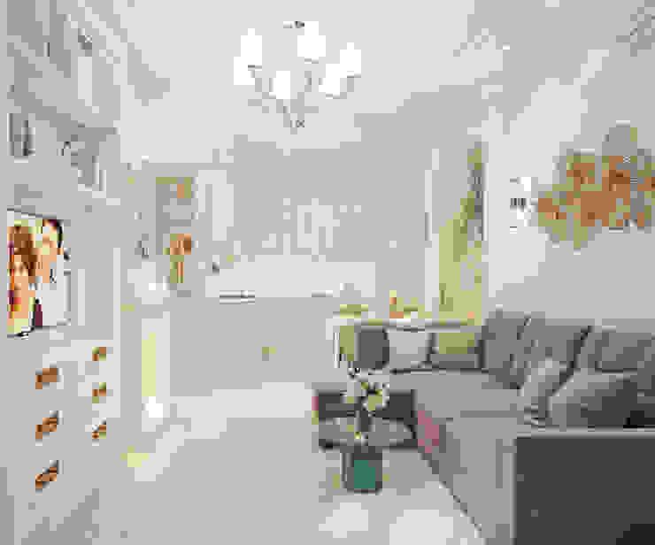 Гостиная вид на кухню Гостиная в классическом стиле от Андреевы.РФ Классический Серебро / Золото