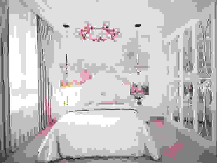 Спальня в неоклассике. Вид на изголовье кровати. от Андреевы.РФ Классический