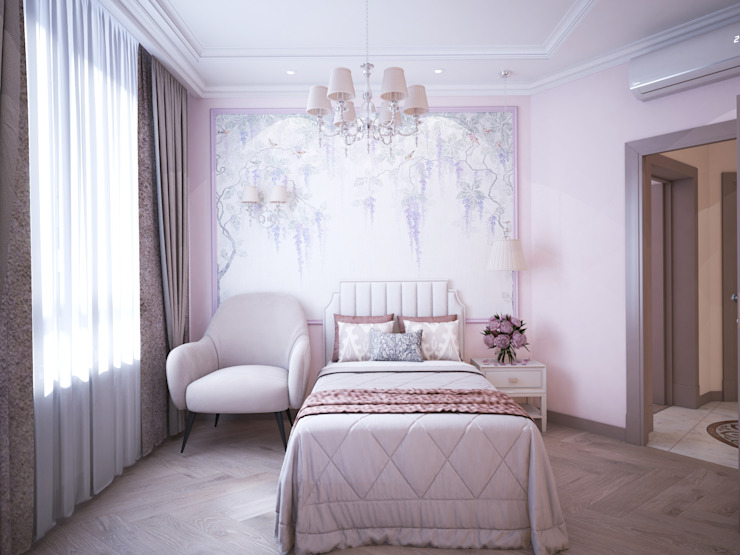Спальня с ассиметричным размещением в изголовье от Андреевы.РФ Классический