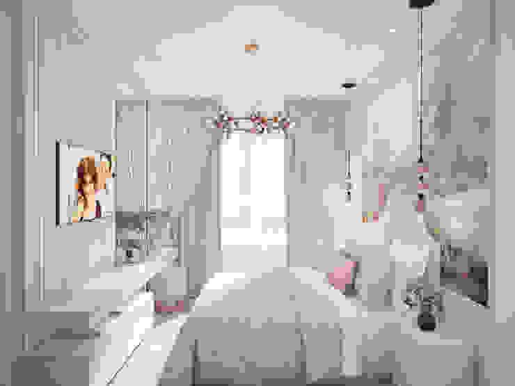 Спальня в современной классике Вид от входа в комнату Спальня в классическом стиле от Андреевы.РФ Классический