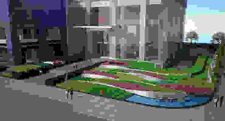 bird-eye perspective Bangunan Kantor Modern Oleh ARLAN Landscape Architects Modern Besi/Baja
