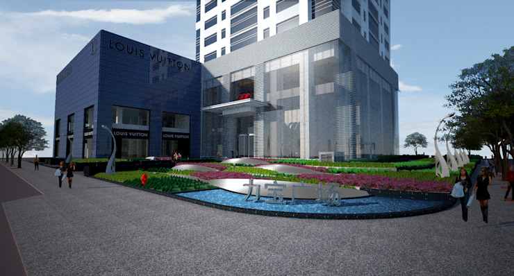eye level perspective Bangunan Kantor Modern Oleh ARLAN Landscape Architects Modern Besi/Baja