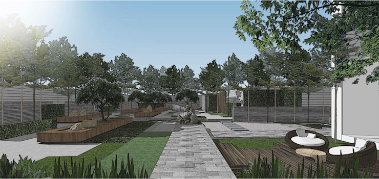 Garden Perspective Oleh ARLAN Landscape Architects Modern Granit