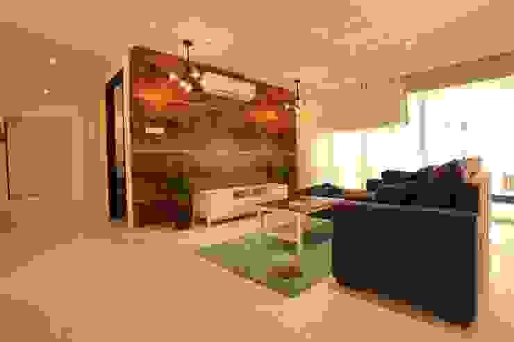 Living room Saloni Narayankar Interiors Modern Living Room Wood Brown