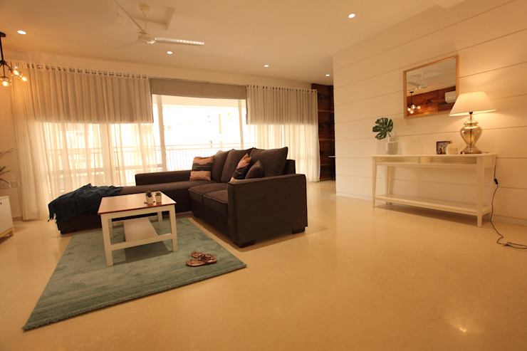 Family room Saloni Narayankar Interiors Modern Living Room Wood White