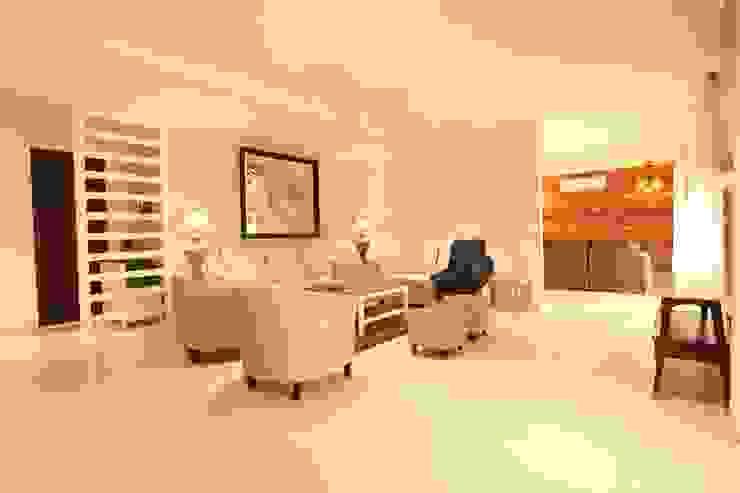 Living room Saloni Narayankar Interiors Modern Living Room Wood-Plastic Composite White