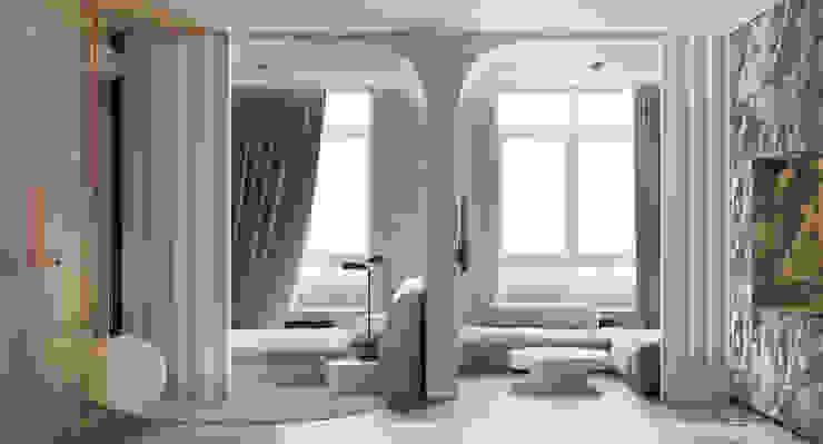 he.d group Scandinavian style corridor, hallway& stairs Concrete Grey