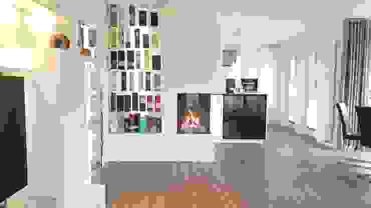 Gaskamin mit beleuchtetem Flaschenregal Innenarchitektur Sudholz Moderne Esszimmer Weiß