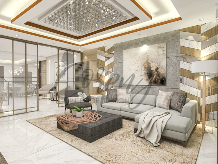 living area Corpuz Interior Design Living room Beige