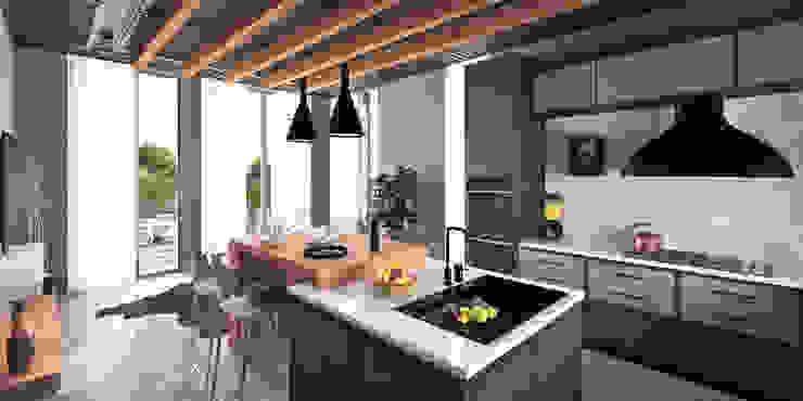 Teras Loft İç Mekan Tasarımı Modern Mutfak CM² Mimarlık ve Tasarım Stüdyosu Modern