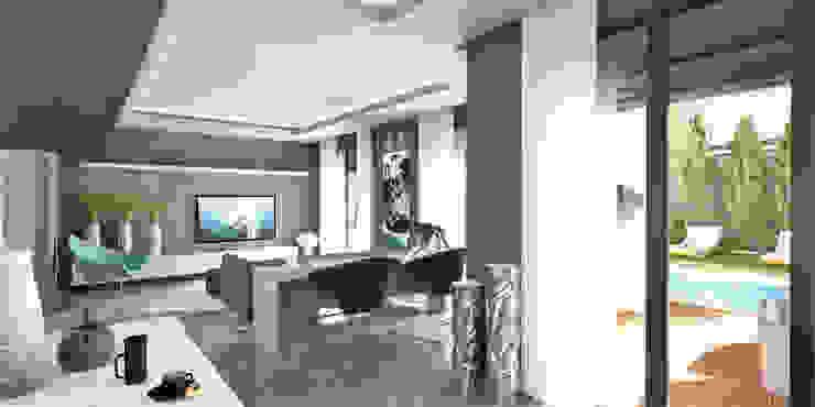Teras Loft İç Mekan Tasarımı Modern Oturma Odası CM² Mimarlık ve Tasarım Stüdyosu Modern