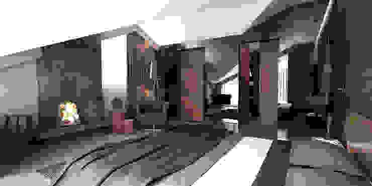 Teras Loft İç Mekan Tasarımı Modern Yatak Odası CM² Mimarlık ve Tasarım Stüdyosu Modern