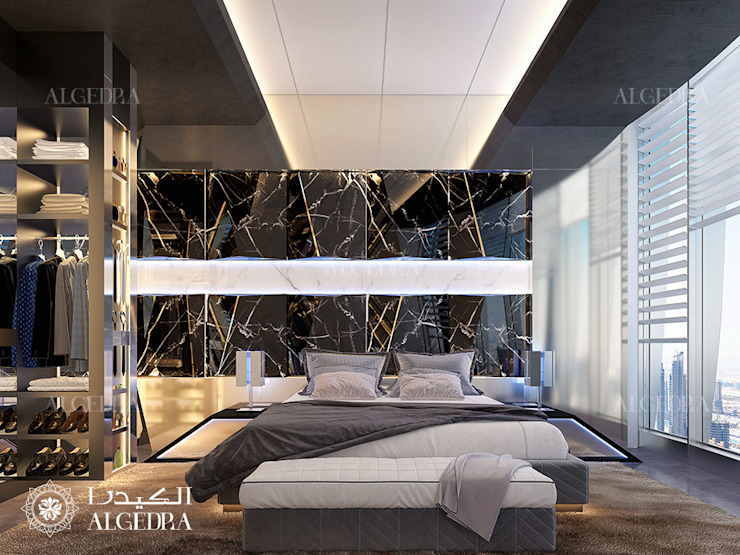 Luxury bedroom design in Dubai penthouse Modern Bedroom by Algedra Interior Design Modern