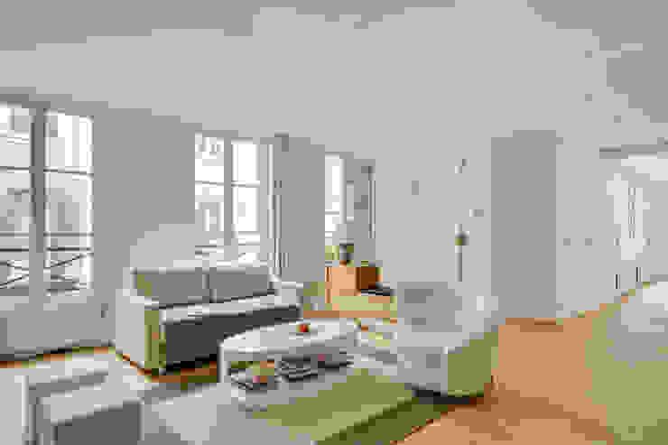 Agence KP Modern living room Wood White