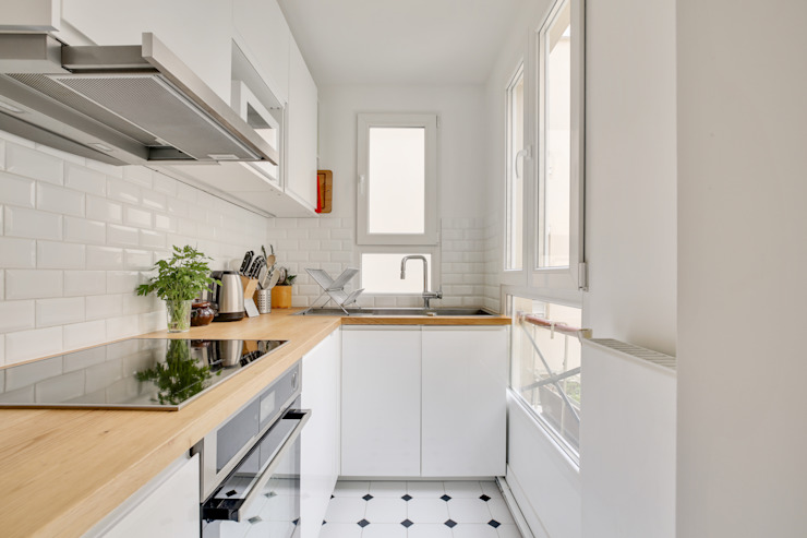 Agence KP Cucina piccola Ceramica Bianco