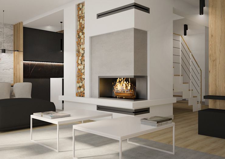 Nevi Studio Livings de estilo moderno Concreto Gris