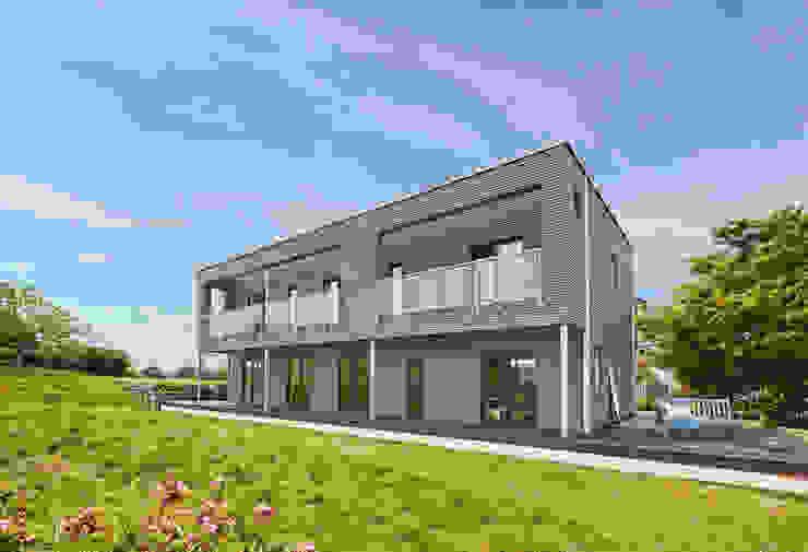 House Rushworth: elegant modern architecture Baufritz (UK) Ltd. Modern houses Wood Grey