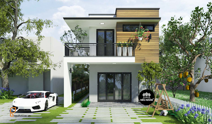 Mẫu thiết kế nhà phố 2 tầng đẹp mặt tiền 5m tại Đồng Nai bởi NEOHouse