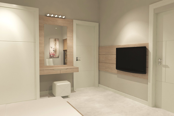 Yatak Odası - Tv Duvarı Kalya İç Mimarlık \ Kalya Interıor Desıgn Modern Yatak Odası Ahşap Ahşap rengi
