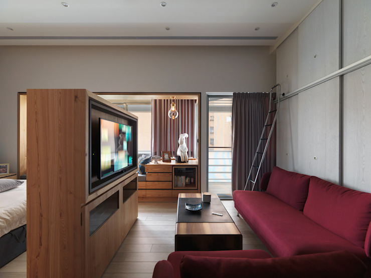 幸之宅 现代客厅設計點子、靈感 & 圖片 根據 拾雅客空間設計 現代風 合板