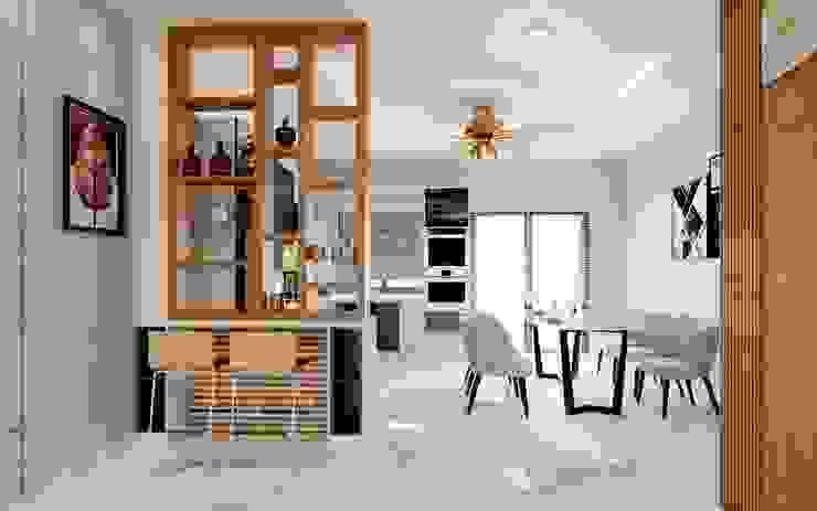 Thiết kế và thi công nội thất nhà phố dự án Thăng Long Home TNHH xây dựng và thiết kế nội thất AN PHÚ CONs 0911.120.739 Cầu thang Bê tông White