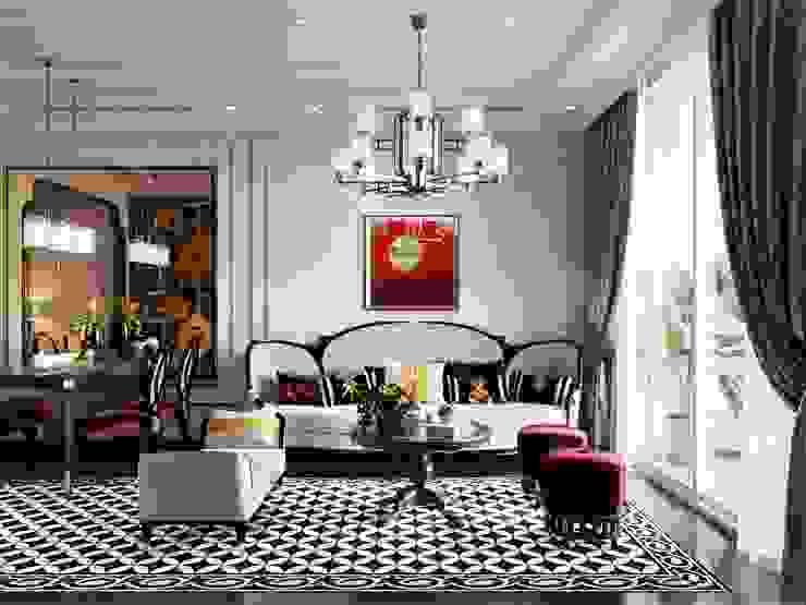 Nghệ thuật thiết kế nội thất – Phong cách cho người nghệ sĩ Phòng khách phong cách châu Á bởi ICON INTERIOR Châu Á