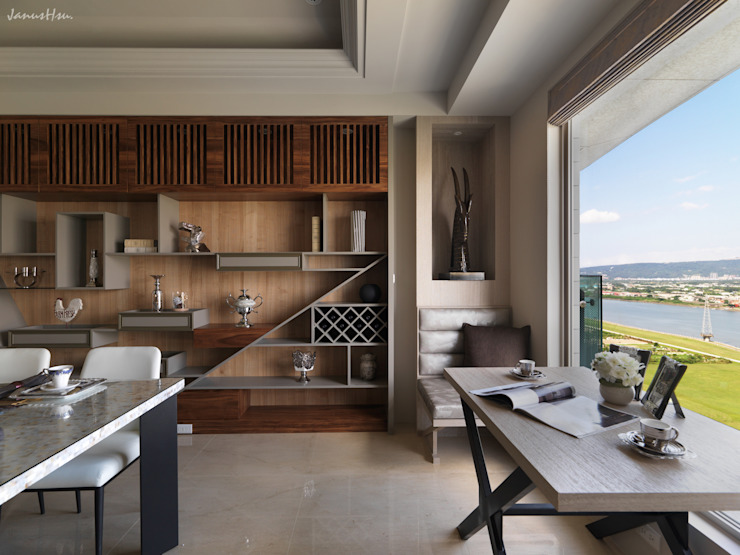 河畔迎景 现代客厅設計點子、靈感 & 圖片 根據 拾雅客空間設計 現代風 合板