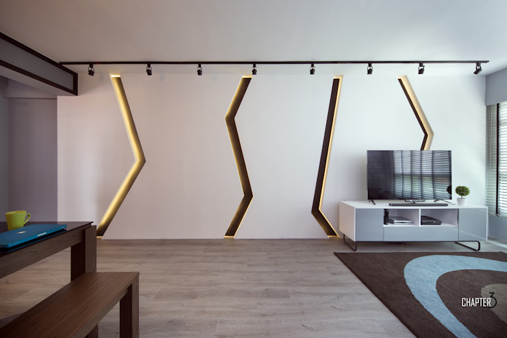 Living Feature Wall Minimalist living room by Chapter 3 Interior Design Minimalist