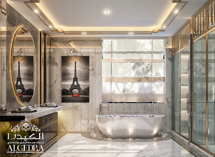 Bathroom design for luxury villa Modern style bathrooms by Algedra Interior Design Modern