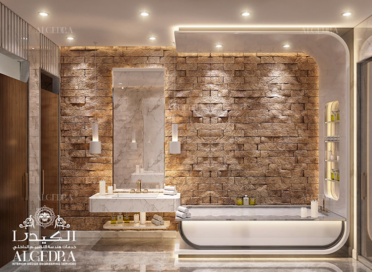 Modern bathroom design in luxury villa 現代浴室設計點子、靈感&圖片 根據 Algedra Interior Design 現代風