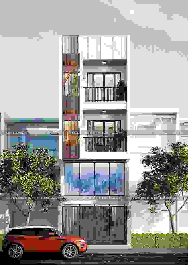 Mẫu thiết kế nhà 3 tầng có gác lửng hiện đại đẹp bởi Công ty xây dựng nhà đẹp mới