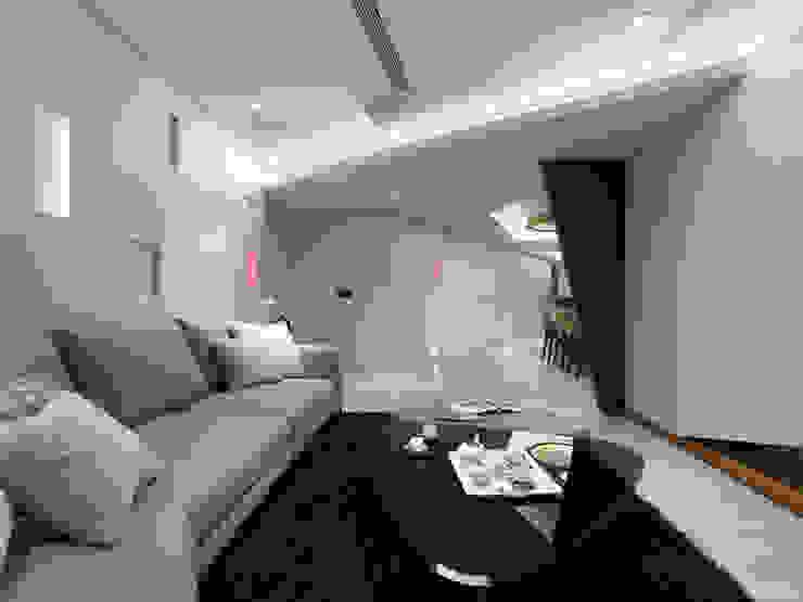 異軸線 现代客厅設計點子、靈感 & 圖片 根據 拾雅客空間設計 現代風 合板