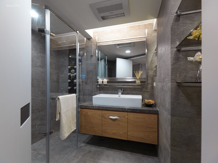 異軸線 現代浴室設計點子、靈感&圖片 根據 拾雅客空間設計 現代風 大理石